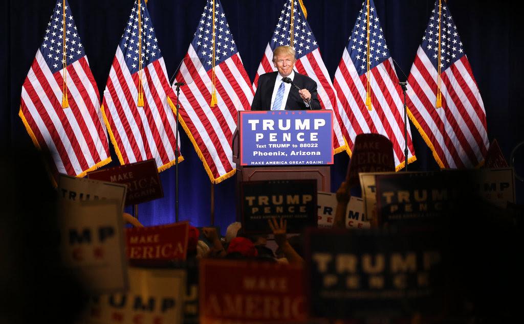 Donald J. Trump speaking in Phoenix on Wednesday evening.