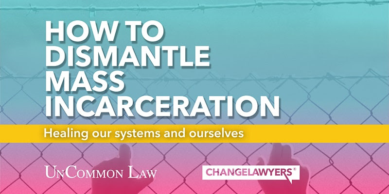 """Hands grasping a chain link fence. Text above fence reads """"How to Dismantle Mass Incarceration"""""""