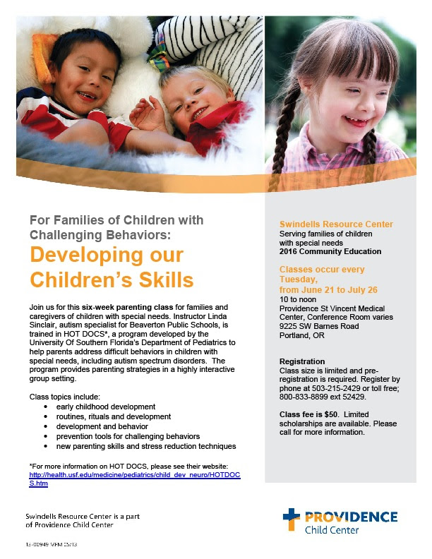 Developing our Children's Skills: For Families and Caregivers of Children with Special Needs (Portland) @ Providence St Vincent Medical Center, Conference Room  | Portland | Oregon | United States