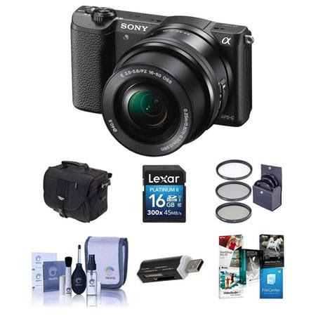 Alpha A5100 Mirrorless Digital Camera with 16-50mm E-Mount Lens Black - Bundle with Camera