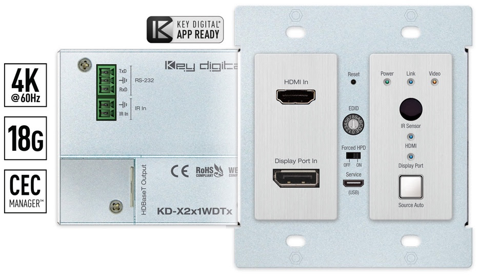 KD-X2x1WDTx Wallplate Tx. Front and back picture.