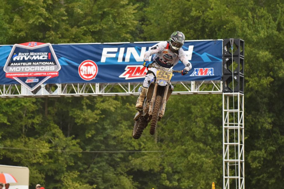 Jake Masterpool topped the highly competitive 250 B class in the third moto,but after a DNF in the first race he would finish 13th overall.Photo: Ken Hill