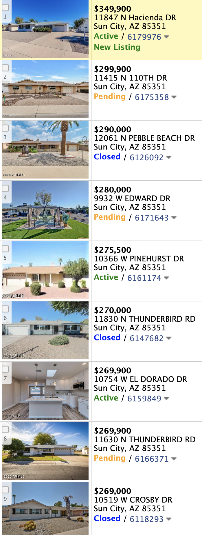 10735 W Hope Dr, Sun City AZ 85351 comps list