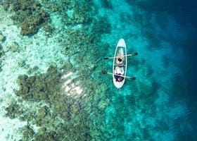 Photo of aerial shot, bird's eye view, boat