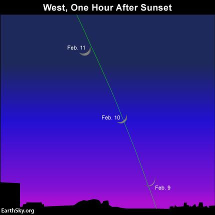 Day by day, watch the waxing crescent moon climb upward, farther away from the setting sun. The green line depicts the ecliptic.