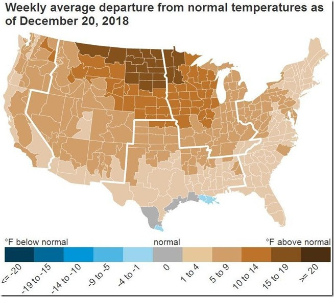 December 29 2018 temperature departure from normal for week to Dec 20