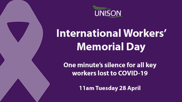 Graphic with purple ribbon and text: International Workers' Memorial Day - One minute's silence for all key workers lost to COVID-19 - 11am Tuesday 28 April