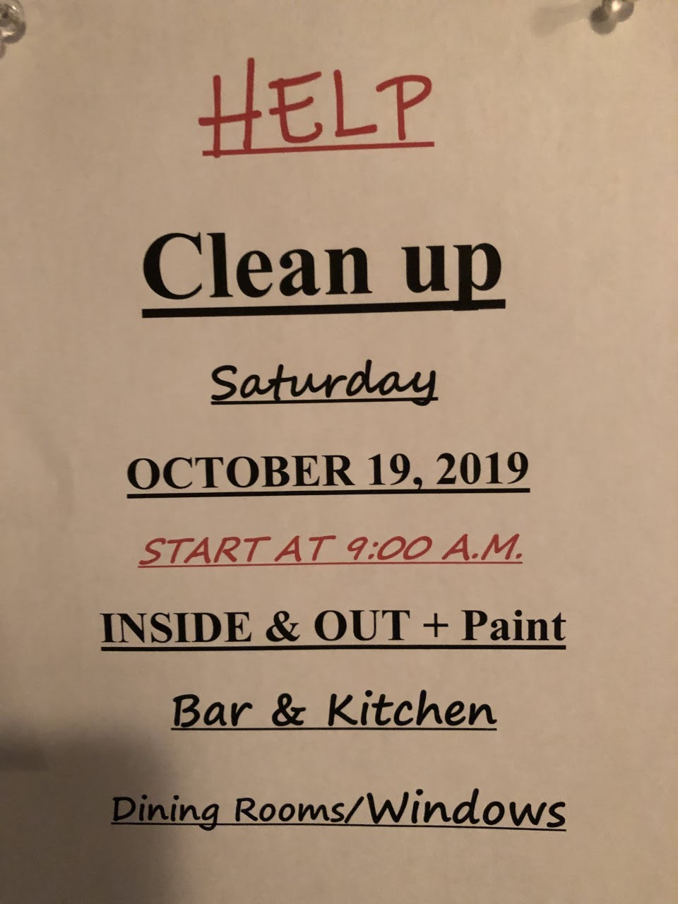 Cleanup Fall 2019