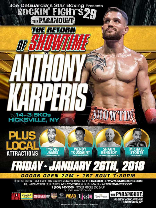 Karperis without opponent plus undercard