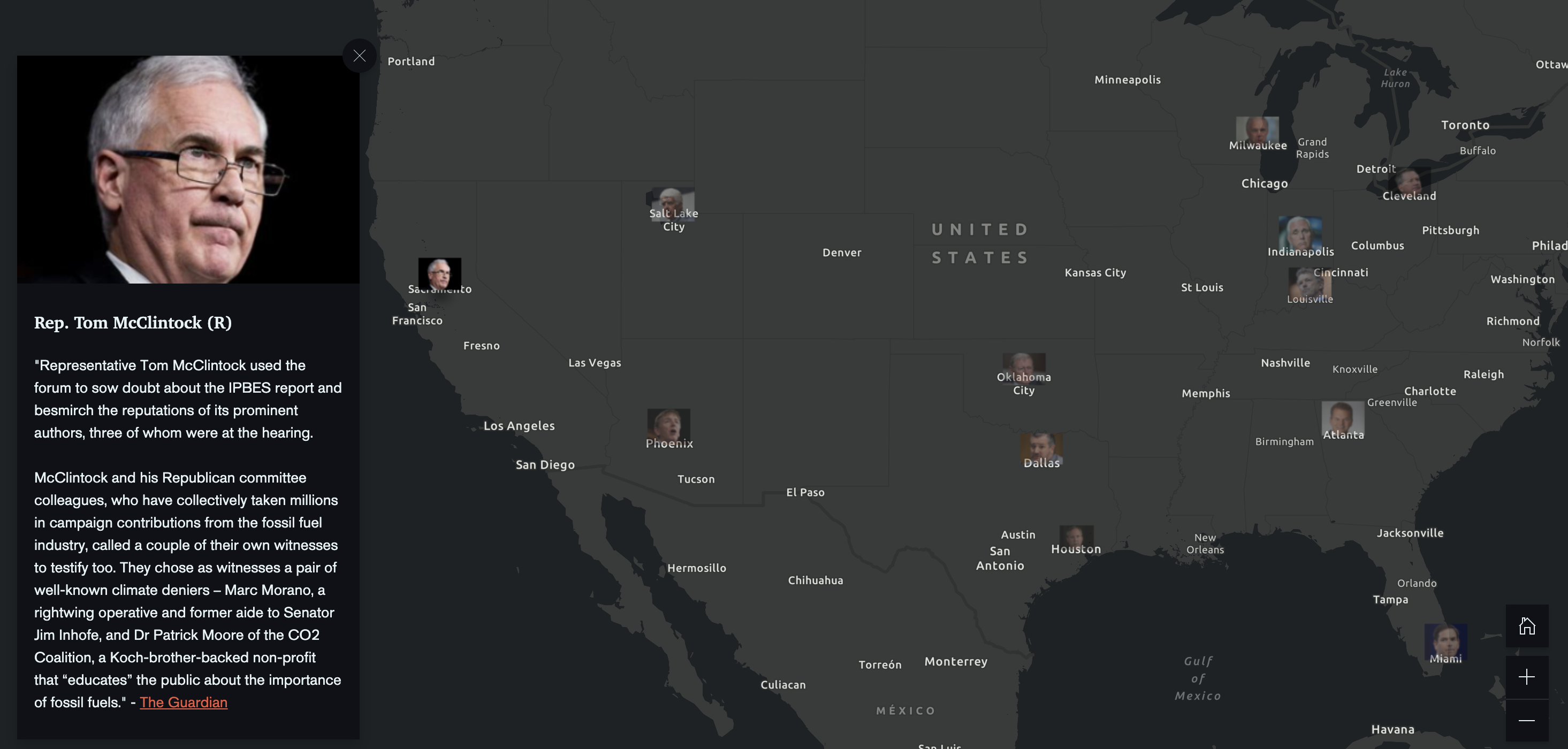 The StoryMaps shows the elected official for every congressional district and state. Some of the more extreme climate deniers like Rob Bishop (Utah), Paul Gosar (Arizona) and Tom McClintock (CA) and their public statements are highlighted.