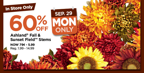 60% off. Ashland® Fall & Sunset Field™ Stems