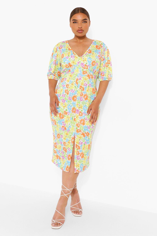 Plus Neon Floral Button Down Midi Dress