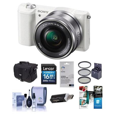 Alpha A5100 Mirrorless Digital Camera with 16-50mm Lens, White Body - Black Lens - Bundle