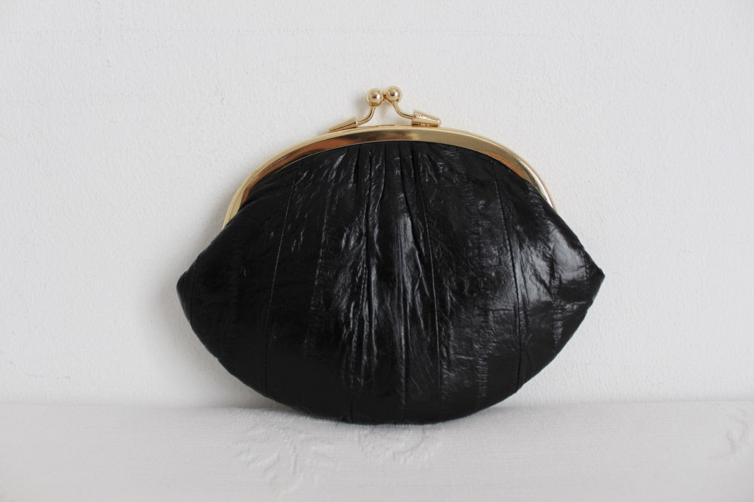 *GENUINE EEL SKIN* VINTAGE BLACK LEATHER PURSE