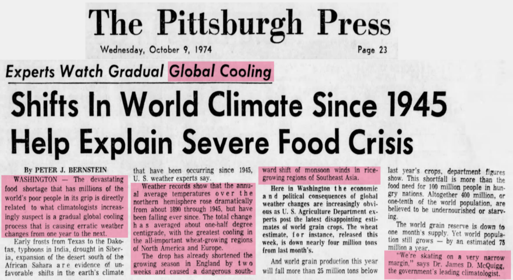Flashback 1974: U.S. Government's Top Climatologist Said 'Global Cooling' Threatened Us With 'Severe Food Crisis'