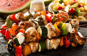 chicken and veggie shish kabos
