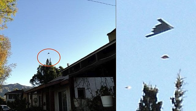 B1 Bomber Accompanied By Two UFOs Above Glendale, California? (Video)