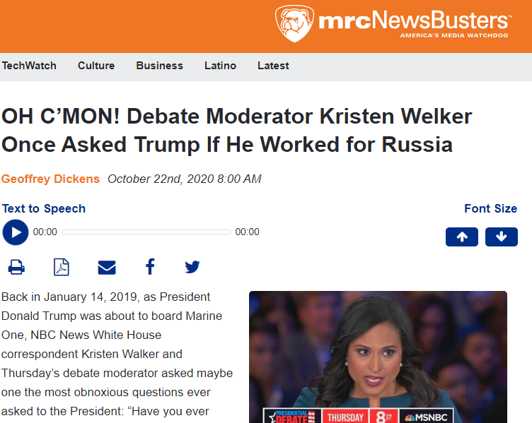 Debate moderator Kristen Welker once asked Trump if he worked for Russia