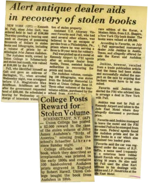 Newspaper clippings from the story about the thefts of the Audubon heist.