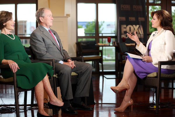 Former President George W. Bush and Laura Bush were interviewed by Maria Bartiromo on Wednesday. The former president said his mother and the former first lady, Barbara Bush, who died on Tuesday, would have wanted him to go ahead with the interview.