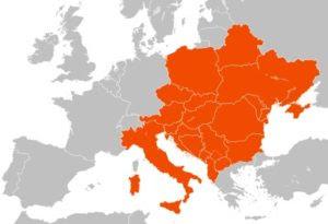 Państwa członkowskie Inicjatywy Środkowoeuropejskiej (stan na: 2019). Map of CEI members.