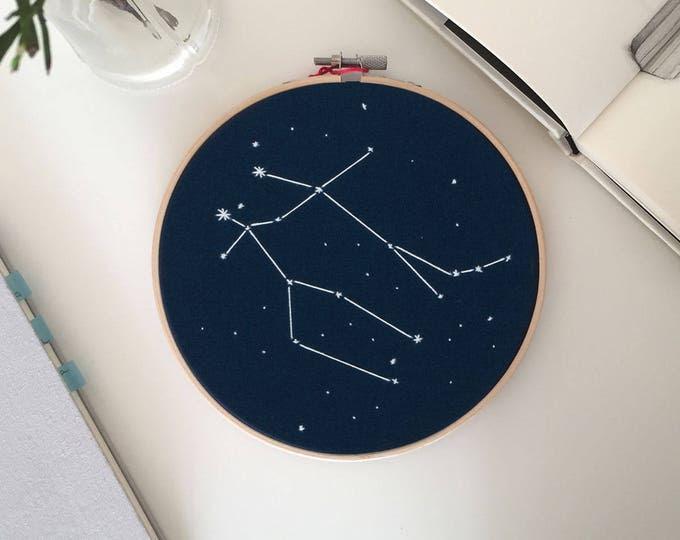 Zodiac Constellation embroidery hoop art - Zodiac Star Sign wall hanging art, Home decor, Newborn birthday gift