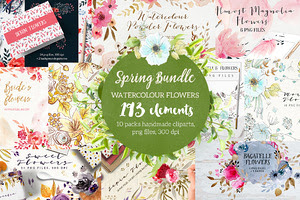 Spring Bundle Watercolour Flowers