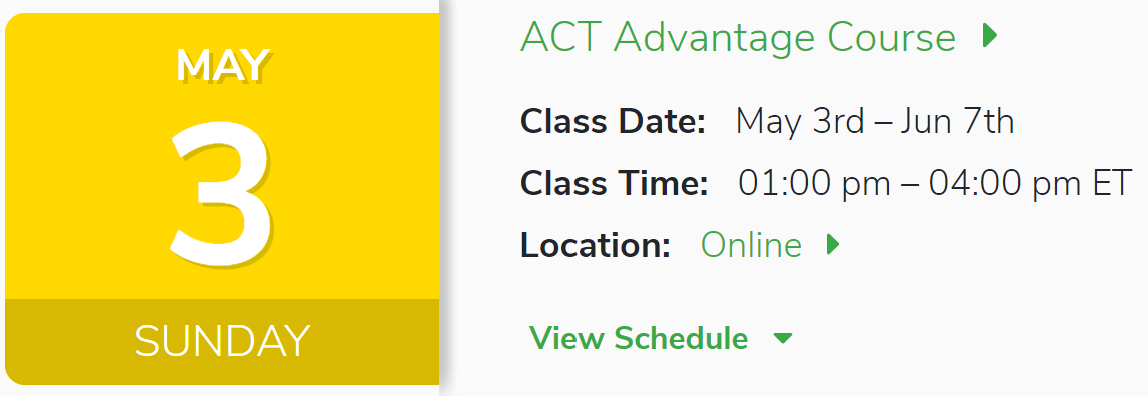 May 3rd ACT class