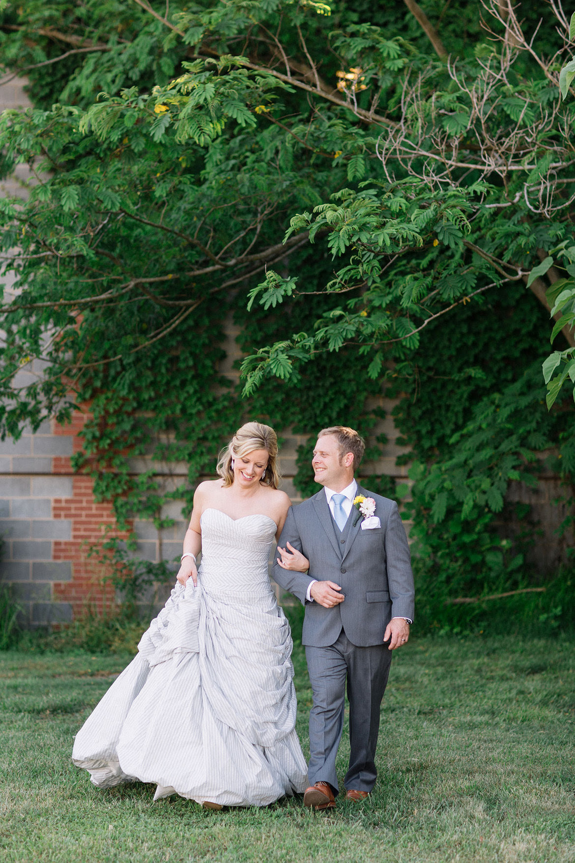 grey wedding gown