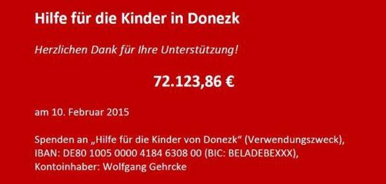 Die Linke collecte 72.000€ pour envoyer de l'aide à Donetsk et Gorlovka