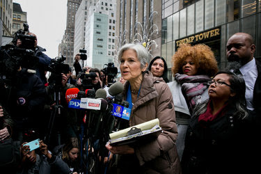 Jill Stein, the Green Party presidential nominee, at a Monday news conference about her vote recount efforts outside Trump Tower in Manhattan.