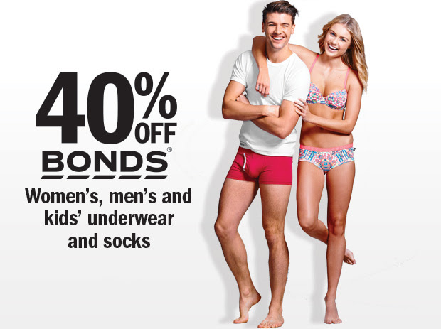 Save 40% OFF Bonds Women's, Men's and Kids' Underwear And Socks @ Target.com.au