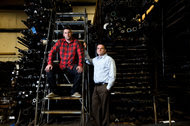 Oren Falkowitz, left, and Blake Darché, two of the founders of Area 1 Security, at Cate Machine and Welding in Belleville, Wis. Cate is among the businesses allowing Area 1 to monitor activity on their servers in order to alert potential victims of an attack.