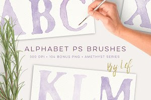 Watercolor PS Brush Set Alphabet