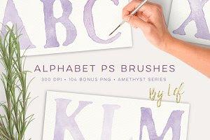 Watercolor PS Brush Set Alphabet