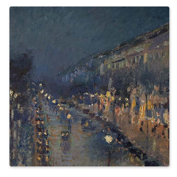 Detail from Camille Pissarro, 'The Boulevard Montmartre at Night', 1897 © The National Gallery, London