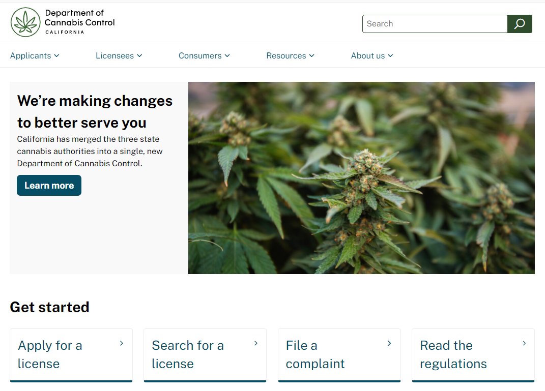 Screenshot of the cannabis.ca.gov website homepage