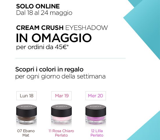 CREAM CRUSH EYESHADOW IN OMAGGIO per ordini superiori a 45€