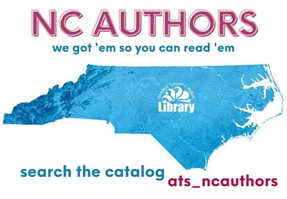 state of NC in blue with red lettering around it.