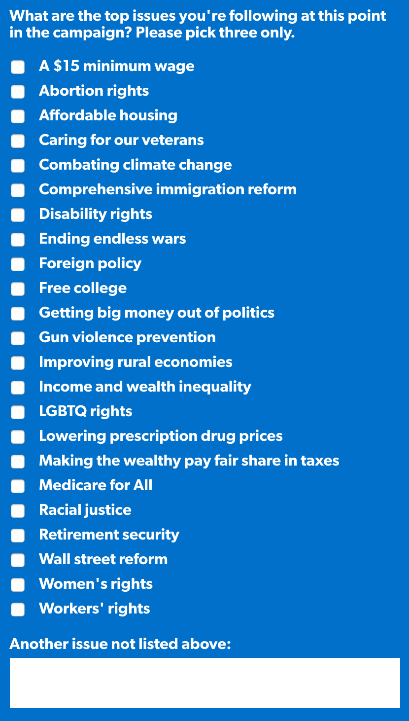 What are the top issues you're following at this point in the campaign? Please pick three only.