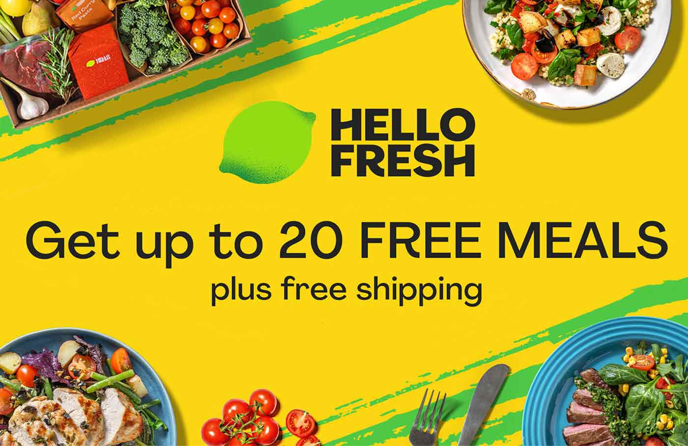 Get up to 20 free meals with Hello Fresh.