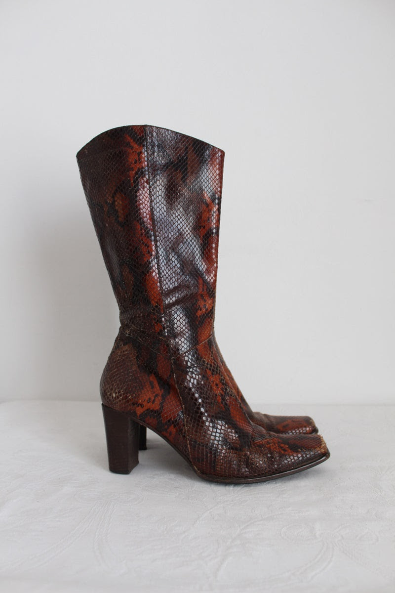CANTELLI BOLOGNA LEATHER SNAKE PRINT BOOTS - SIZE 6