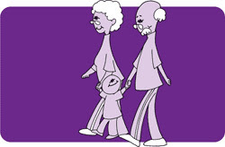 Drawing of older adults and a child