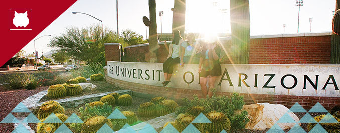 Students sitting on the University of Arizona sign in the sunlight