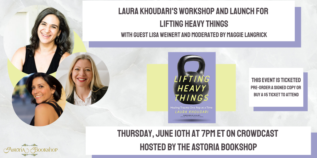 Alt: Laura Khoudari,Maggie Langrick, and Lisa Weinert's headshots with the cover of the book. Details about the event as listed below and a note that this event IS TICKETED