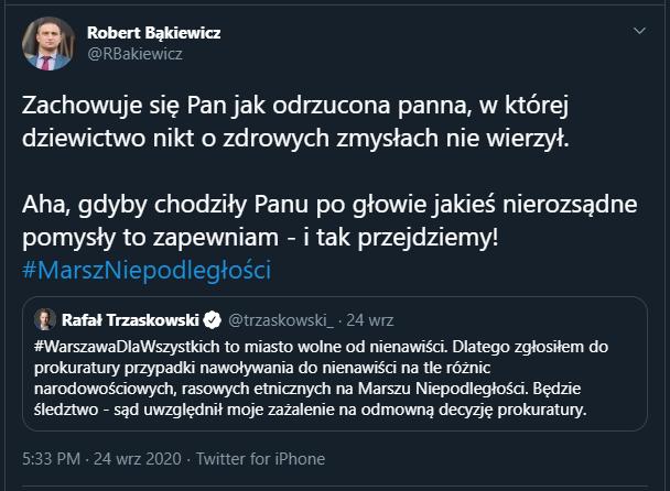Rafał Trzaskowski atakuje Marsz Niepodległości - https://twitter.com/RBakiewicz/status/1309153964190052357