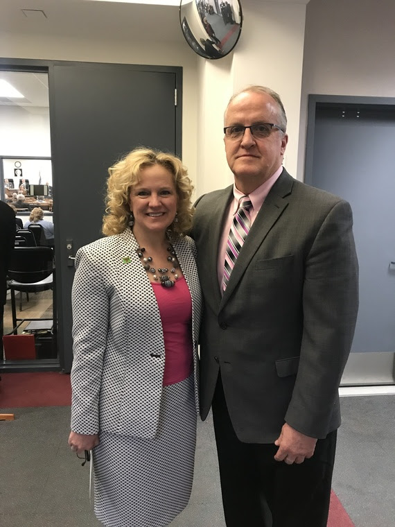 State Superintendent Jillian Balow with Principal Quinn at the Jonah Building before the State-of-the-State.