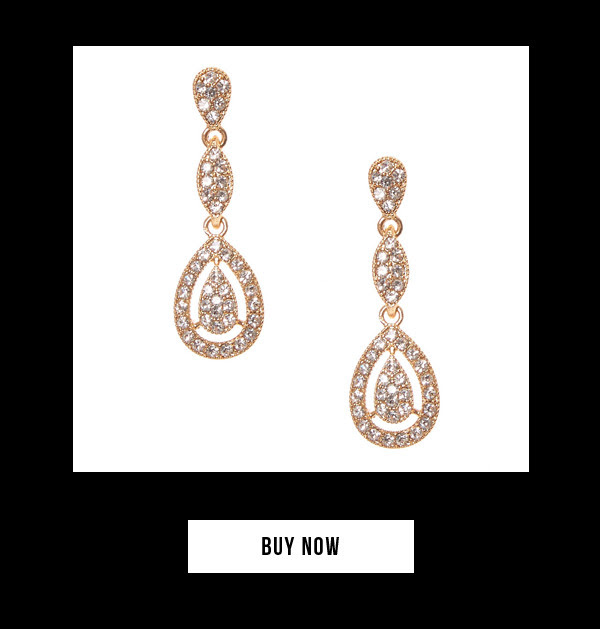 Gold Pavé Rhinestone Framed Teardrop Drop Earrings