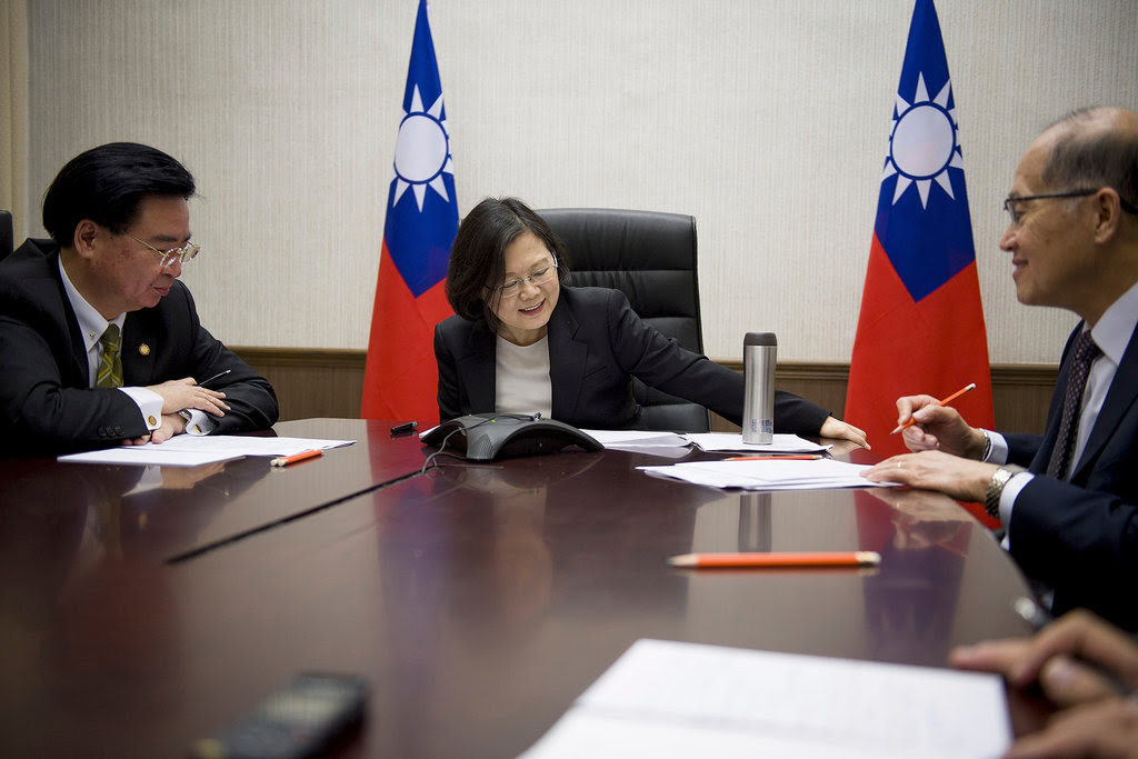 President Tsai Ing-wen of Taiwan, center, speaking with President-elect Donald J. Trump from her office in Taipei on Friday.