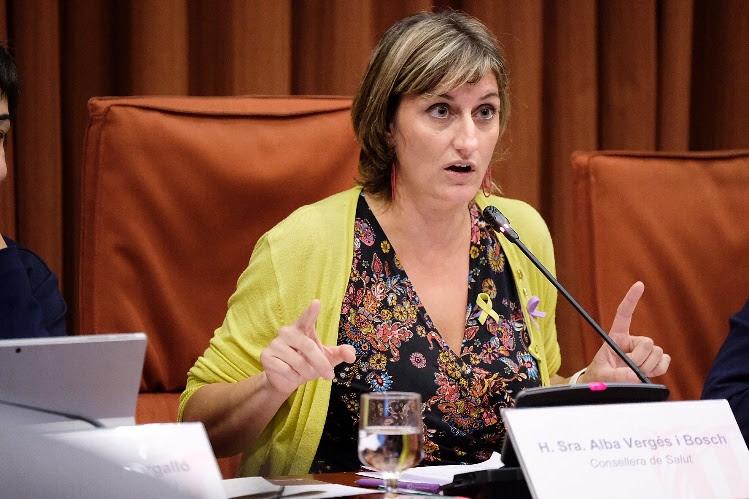 La consellera de Salut, Alba Vergés, intervenint aquest matí a la comissió de Salut del Parlament.
